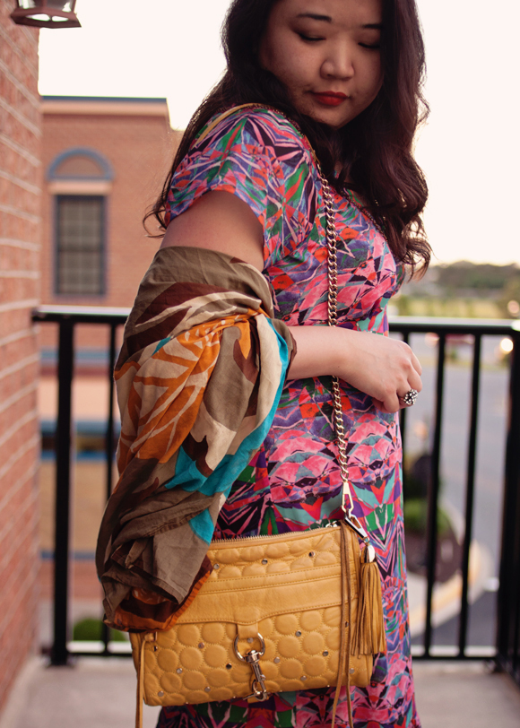 colorful maxi dress and rebecca minkoff mac