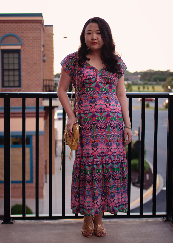 anthropologie mural maxi dress at sunset outfits