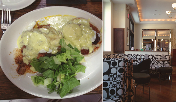 pulled pork benedict and the inside of restaurant rose and crown