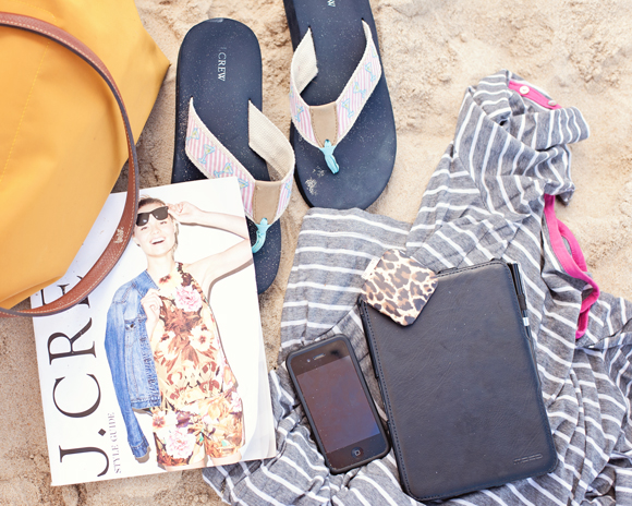 beach essentials j.crew flip flops kindle fire iphone