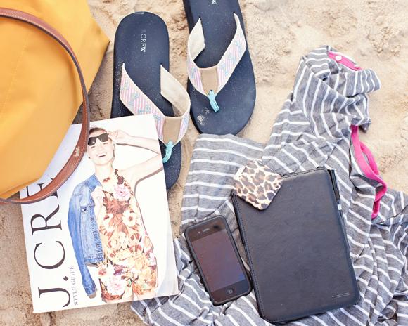 beach essentials j.crew flip flops kindle fire iphone