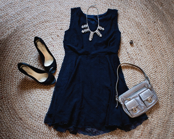 sheinside blue dress styled with accessories for a summer evening