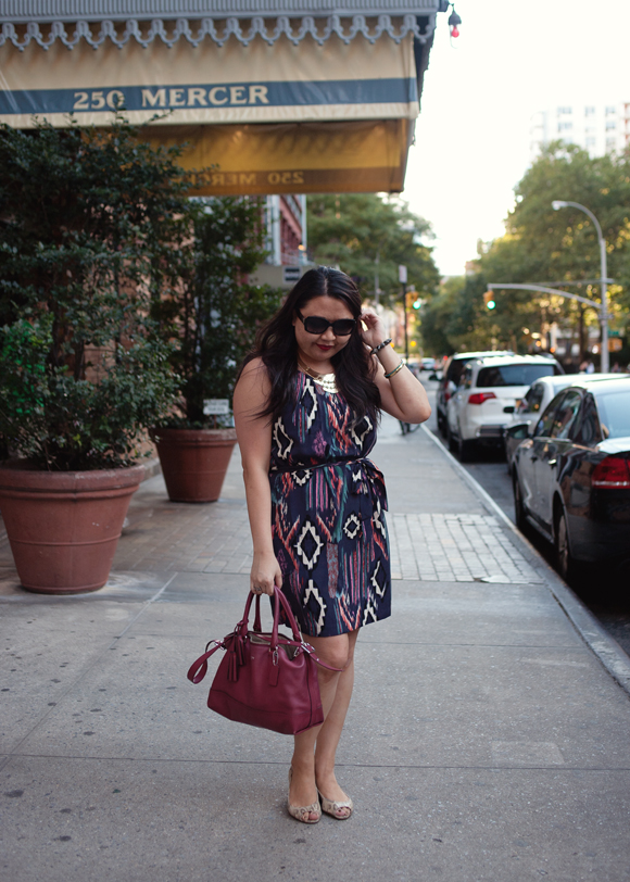 fashion blogger outfit of the day forever 21 ikat dress and coach molly black cherry satchel