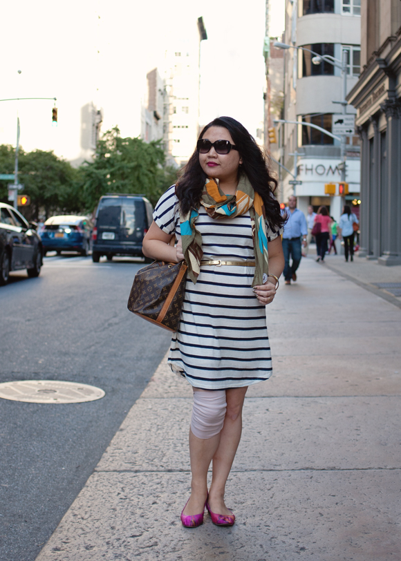 antik batik scarf striped dress and louis vuitton petit noe bucket bag