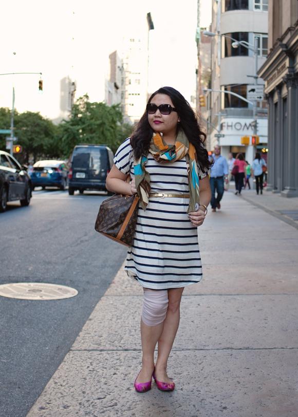 antik batik scarf striped dress and louis vuitton petit noe bucket bag