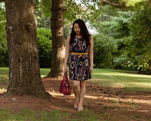 acai ikat dress with yellow belt and coach satchel fashion blogger fall 2013 color trends