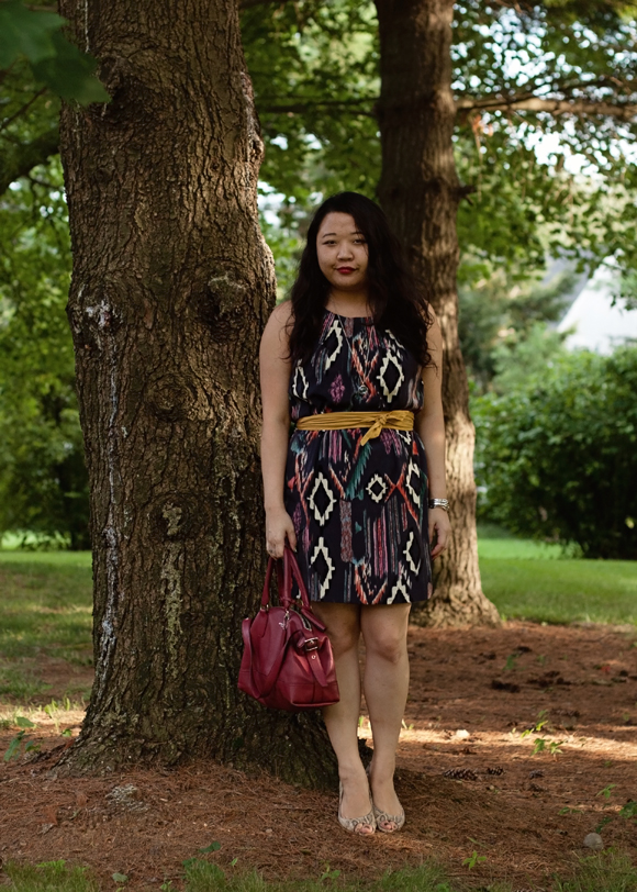 purple ikat dress with yellow belt and coach satchel fashion blogger outfit