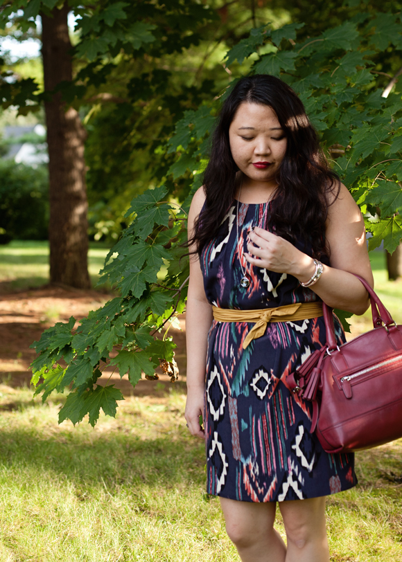acai ikat dress and samba red bag fall 2013 color trends fashion blogger outfit