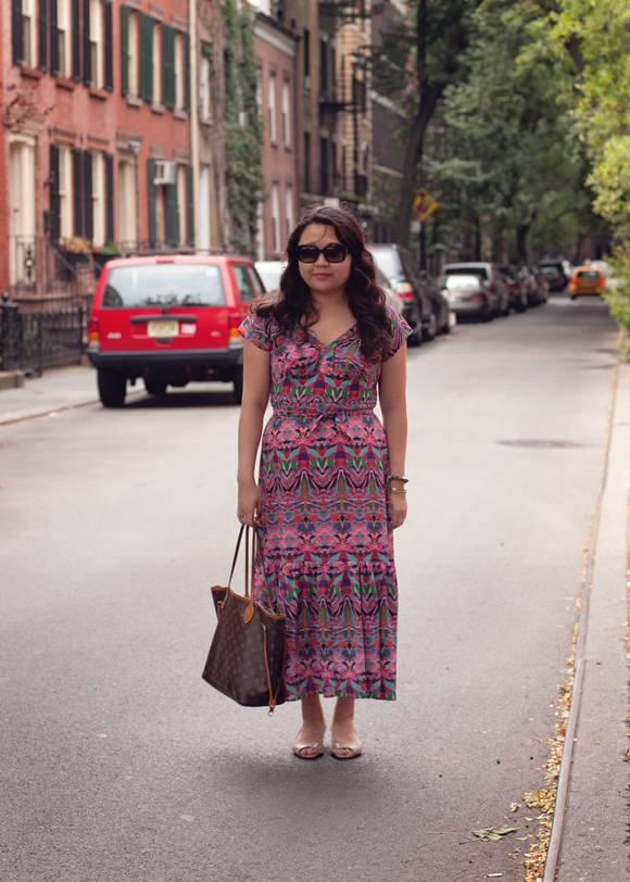 vanessa virginia anthropologie mural maxi dress on the street in the west village
