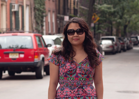 burberry sunglasses and anthropologie maxi dress on a fashion blogger on the street in the west village