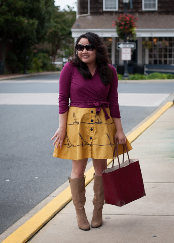 berry wrap and yellow eshakti sailboat summer dress styled for fall