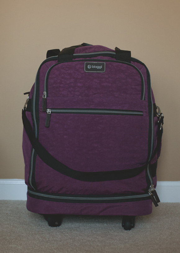 biaggi zipsak carry on luggage unfolded and packed