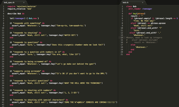 basic ruby bob the teenager exercise in sublime text