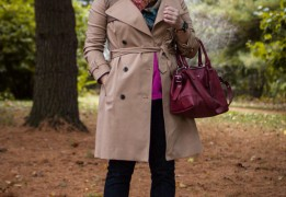Walk in the woods in a Club Monaco trench coat and J Brand skinny jeans