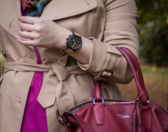 Club Monaco trench coat and timex Intelligent Quartz™ Fly-Back Chronograph watch #timextuesday