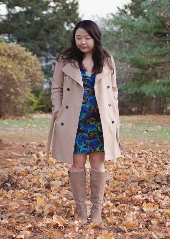 fall fashion blue floral von vonni dress and club monaco harper trench coat