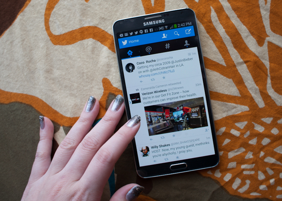 easy readability on twitter on the samsung galaxy note 3
