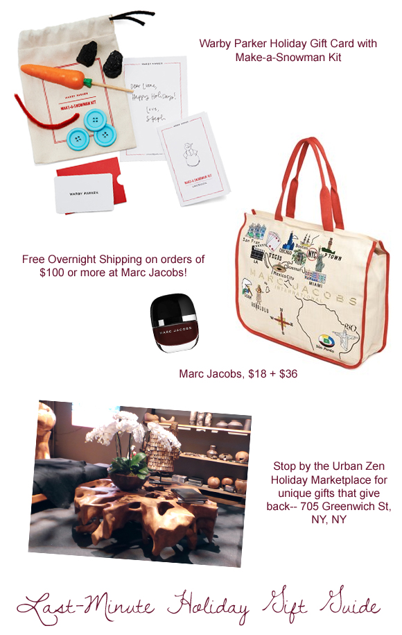 last minute gift holiday gift guide ideas - warby parker, marc jacobs, urban zen holiday marketplace