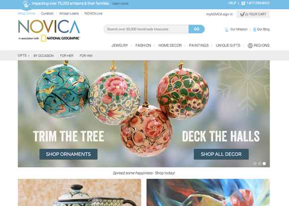 Screenshot of the NOVICA home page - Win a $25 gift card to NOVICA!