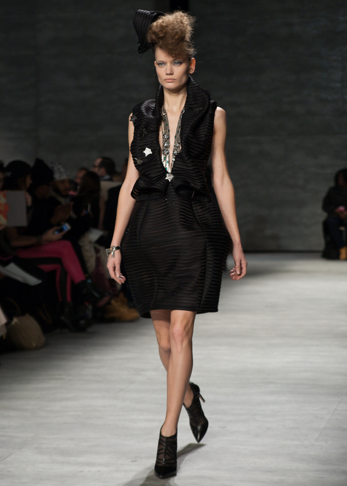 Black Dress with Silver Stars Katya Leonovich Fall 2014 | New York Fashion Week