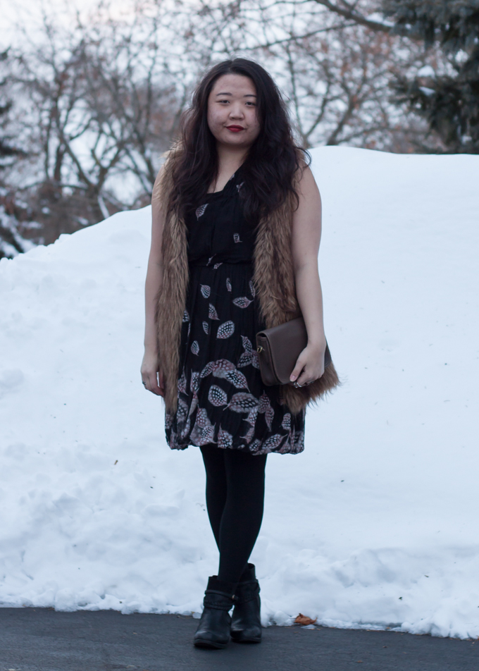 Leifsdottir dress and Vivienne Vivienne Tam faux fur vest | Outfit for dinner on a snowy day | Delayed Missives lifestyle blog