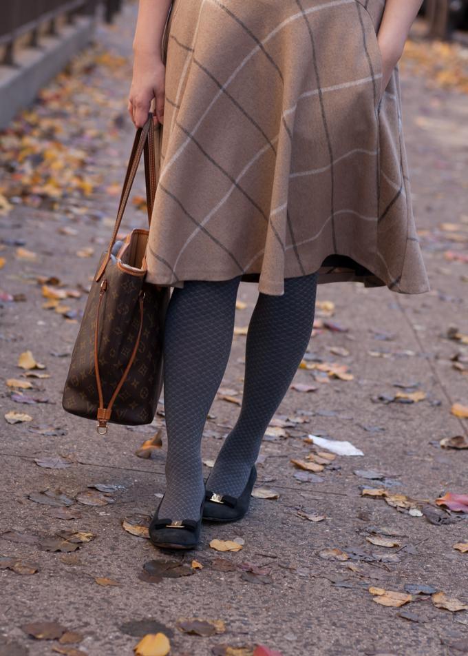 Zara skirt, Wolford tights, vintage Ferragamo Vara