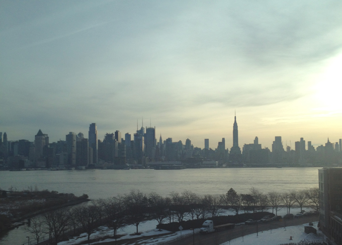 new york city skyline in the morning
