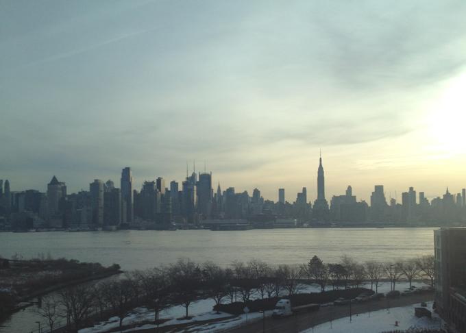 new york city skyline in the morning